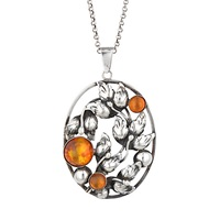 Sharon Mills Vintage Danehof Silver Amber Oval Pendant Necklace Silver