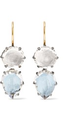 Larkspur And Hawk Caterina Rhodium Dipped Quartz Earrings Blue