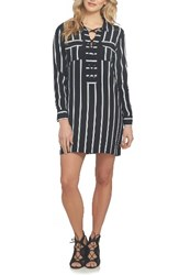 1.State Women's Stripe Lace Up Shirtdress