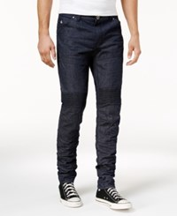 American Stitch Men's Straight Fit Moto Jeans Blue