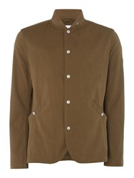 Peter Werth Men's Benson Peached Blazer With Bomber Collar Olive