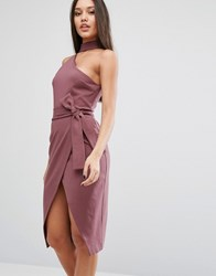 Lavish Alice Pencil Dress With Choker Detail Mauve Wine Purple