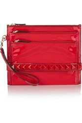Valentino Embellished Patent Leather Clutch Red
