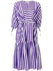 Maison Rabih Kayrouz Striped Flared Dress Pink And Purple
