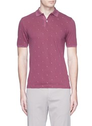 Incotex Floral Embroidered Polo Shirt Purple