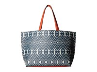 Echo Ikat Essex Reversible Tote Deep Blue Sea Coral Tote Handbags