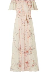Loveshackfancy Evelyn Off The Shoulder Floral Print Silk Georgette Maxi Dress Cream