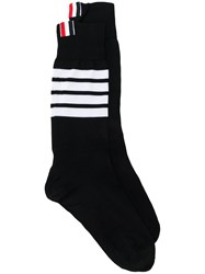 Thom Browne Mid Calf Socks In Lightweight Cotton Black
