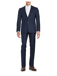 Calvin Klein Textured Two Button Wool Suit Set Blue Charcoal