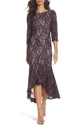Alex Evenings Women's Lace High Low Gown Plum Nude