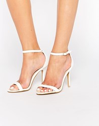 Glamorous White Patent Barely There Sandals White Patent