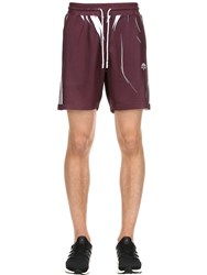 Adidas By Alexander Wang Aw Printed Track Shorts Purple White