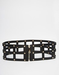 Pieces Caged Belt With Zip Fastening Black