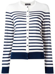 Dolce And Gabbana Striped Knitwear White