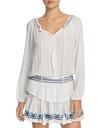Surf Gypsy Embroidered Peasant Dress Swim Cover Up Ivory Navy