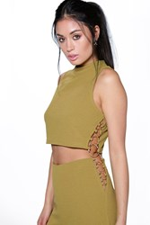 Boohoo Ring Detail High Neck Crop Top Olive