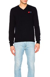 Comme Des Garcons Play V Neck Double Emblem Sweater In Blue