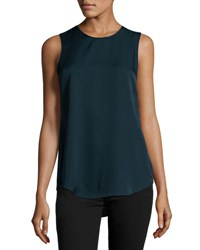Theory Silk Modern Sleeveless Top Navy