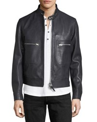 Tom Ford Lambskin Leather Bomber Jacket Navy