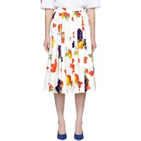 Msgm White Printed Poplin Pleated Skirt