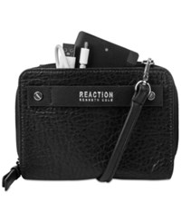 Kenneth Cole Reaction Strap Wallet With Battery Charger Black