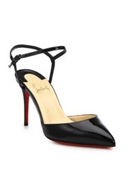 Christian Louboutin Patent Leather Ankle Strap Slingback Pumps