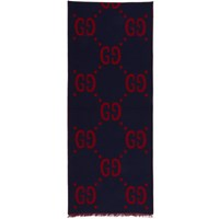 Blue And Red 'Gucci Signature' Scarf