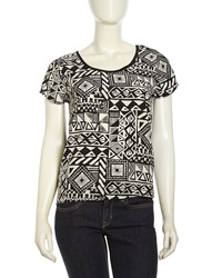 Romeo And Juliet Couture Graphic Print Scoop Neck Satin Top Black White