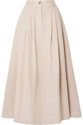 Mara Hoffman Tulay Pleated Organic Cotton And Linen Blend Midi Skirt Baby Pink