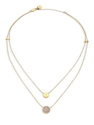 Michael Kors Brilliance Layered Disc Chain Necklace Gold