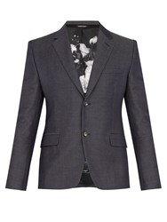 Alexander Mcqueen Single Breasted Wool Blend Blazer Navy