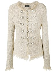 Twin Set Boucle Military Jacket Women Cotton Polyamide Polyester Viscose S Nude Neutrals