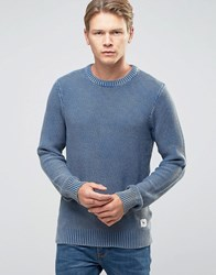 Bellfield Classic Acid Wash Jumper Navy