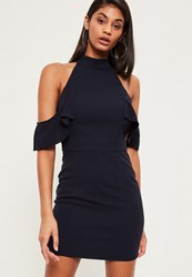 Missguided Navy High Neck Frill Detail Bodycon Dress