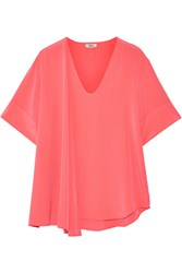 Issa Brig Silk Crepe Top Orange