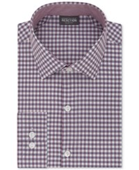 Kenneth Cole Reaction Men's Tall Slim Fit Techni Stretch Performance Gingham Dress Shirt Berry