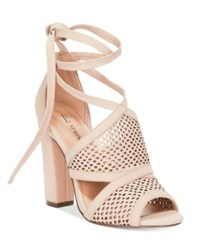 Call It Spring Rounkles Tie Up Block Heel Sandals Women's Shoes Nude