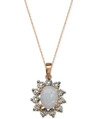 Macy's Opal 3 4 Ct. T.W. And Diamond Accent Pendant Necklace In 14K Rose Gold White