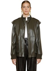 Alberta Ferretti Leather Biker Vest Jacket Dark Green