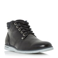 Dune Cane Wedge Sole Leather Lace Up Boots Black