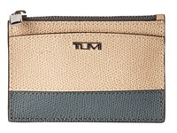 Tumi Sinclair Slim Card Case Blue Cream Spectator Credit Card Wallet Beige