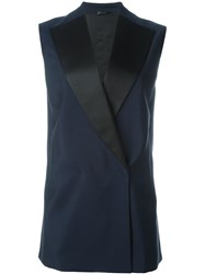 Jil Sander Contrast Lapel Sleeveless Jacket Blue