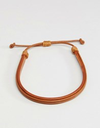 Jack And Jones Double Leather Bracelet In Tan Tan