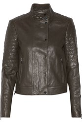 J Brand Marshall Quilted Leather Biker Jacket Army Green