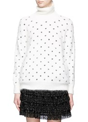 Giamba Dot Embroidered Angora Wool Blend Turtleneck Sweater White