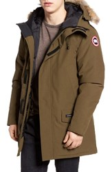 Canada Goose Men's Langford Slim Fit Down Parka With Genuine Coyote Fur Trim Military Green