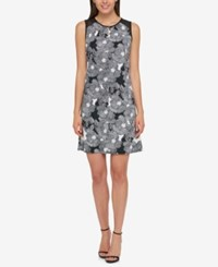 Tommy Hilfiger Printed Illusion Dress Only At Macy's Black Ivory