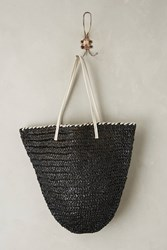 Anthropologie Market Straw Bucket Bag Black