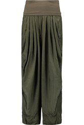 Donna Karan Cropped Silk Satin Pants Green