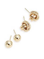 Saks Fifth Avenue 14K Yellow Gold Ball And Knot Stud Earring Set